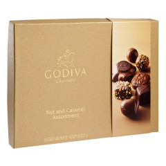 GODIVA NUT AND CARAMEL ASSORTMENT 10.6 OZ BOX