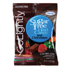 GO LIGHTLY SUGAR FREE JUST CHOCOLATES HARD CANDY 2.75 OZ PEG BAG