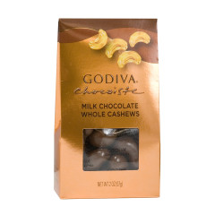 GODIVA MILK CHOCOLATE CASHEWS 2 OZ GABLE BOX