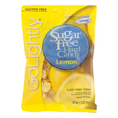 GO LIGHTLY SUGAR FREE LEMON HARD CANDY 2.75 OZ PEG BAG