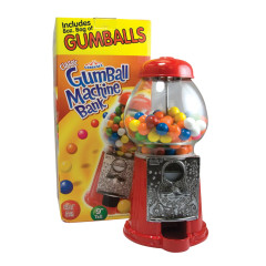 GUMBALL MACHINE BANK WITH GUMBALLS 8 OZ BOX