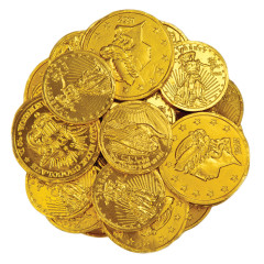 MADELAINE ASSORTED SIZES MILK CHOCOLATE GOLD FOILED COINS