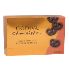 GODIVA MINI MILK CHOCOLATE COVERED PRETZELS 2.5 OZ BOX