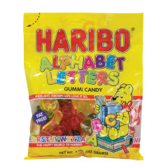 HARIBO ALPHABET LETTERS GUMMI CANDY 5 OZ PEG BAG
