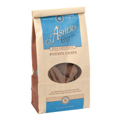 ASHER'S MILK CHOCOLATE POTATO CHIPS 8.5 OZ BAG