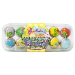 MADELAINE MILK CHOCOLATE FOILED EGGS 3 OZ EGG CRATE