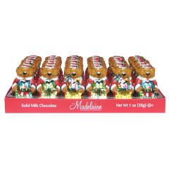 MADELAINE MILK CHOCOLATE FOILED SANTA BEAR 1 OZ