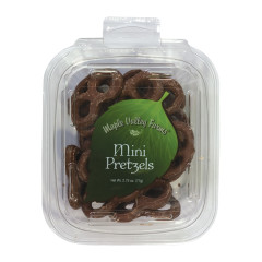 MAPLE VALLEY FARMS MINI CHOCOLATE PRETZELS 2.75 OZ PEG TUB