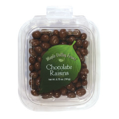MAPLE VALLEY FARMS MILK CHOCOLATE RAISINS 6.75 OZ PEG TUB