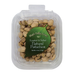 MAPLE VALLEY FARMS ROASTED AND SALTED NATURAL PISTACHIOS 4 OZ PEG TUB