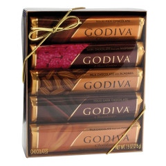 GODIVA ASSORTED CHOCOLATE BARS 5 PC GIFT PACK 7.5 OZ ACETATE