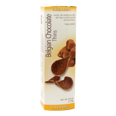 BELGIAN CHOCOLATE THINS CARAMEL 4.4 OZ