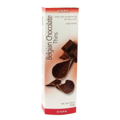 BELGIAN CHOCOLATE THINS DARK CHOCOLATE 4.4 OZ