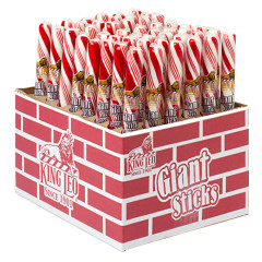 KING LEO GIANT RED AND WHITE PEPPERMINT STICK 3.5 OZ