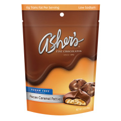 ASHER'S SUGAR FREE PECAN CARAMEL PATTIES 3 OZ BAG