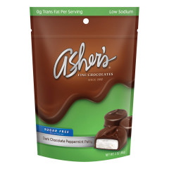 ASHER'S SUGAR FREE DARK CHOCOLATE MINT PATTIES 3 OZ BAG