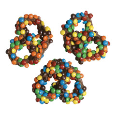 ASHER'S MILK CHOCOLATE PRETZELS WITH M&M'S