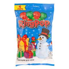 RING POP CHRISTMAS 4 PC 2 OZ PEG BAG