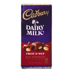 CADBURY FRUIT AND NUT MILK CHOCOLATE 3.5 OZ BAR