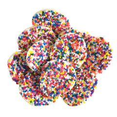 ASHER'S WHITE CHOCOLATE NONPAREILS WITH RAINBOW SEEDS
