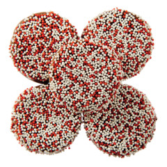 NASSAU CANDY MILK CHOCOLATEY COATED SANDWICH COOKIES WITH VALENTINE NONPAREILS