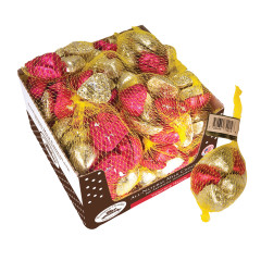 THOMPSON FOILED RED AND GOLD MILK CHOCOLATE HEARTS 1.5 OZ BAG