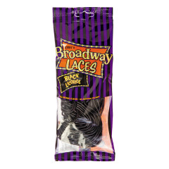 BROADWAY LACES BLACK LICORICE 4 OZ PEG BAG *NOT FOR SALE IN CALIFORNIA*