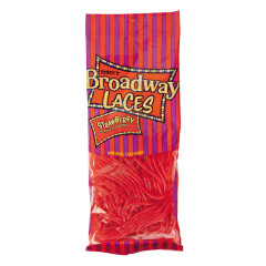 BROADWAY LACES STRAWBERRY LICORICE 4 OZ PEG BAG