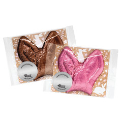 AMUSEMINTS FOIL BUNNY EARS PINK/BROWN MILK CHOCOLATE 3OZ