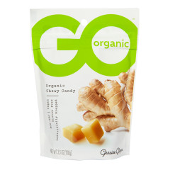 GO ORGANIC GINGER CHEWS CHEWY CANDY 3.5 OZ POUCH