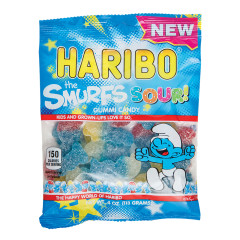 HARIBO THE SMURFS SOUR GUMMI CANDY 4 OZ PEG BAG