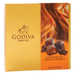GODIVA ASSORTED CHOCOLATE CARAMELS 4.6 OZ BOX