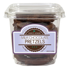 NANCY ADAMS MILK CHOCOLATE PRETZELS 7 OZ TUB