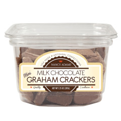 NANCY ADAMS MILK CHOCOLATE MINI GRAHAM CRACKERS 7.25 OZ TUB