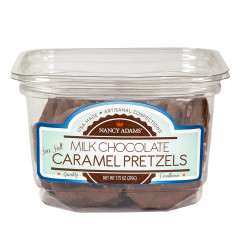 NANCY ADAMS MILK CHOCOLATE CARAMEL PRETZELS 7.75 OZ TUB