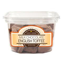 NANCY ADAMS MILK CHOCOLATE ENGLISH TOFFEE 8 OZ TUB