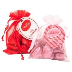 MADELAINE MILK CHOCOLATE FOILED HEARTS 3 OZ BAG
