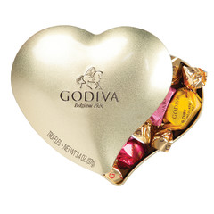 GODIVA 12 PC TRUFFLES HEART 4.25 OZ TIN