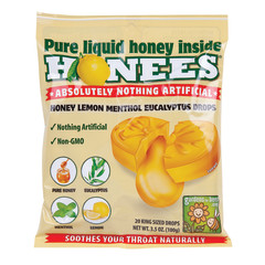 HONEES HONEY LEMON COUGH DROPS 20 PC PEG BAG