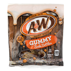 A&W ROOT BEER GUMMY SODA BOTTLES 4.5 OZ PEG BAG