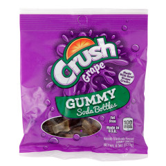 GRAPE CRUSH GUMMY SODA BOTTLES 4.5 OZ PEG BAG