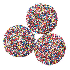 ASHER'S JUMBO MILK CHOCOLATE NONPAREILS WITH RAINBOW SEEDS