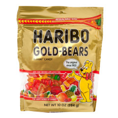 HARIBO GOLD BEARS GUMMI CANDY 10 OZ STAND UP BAG