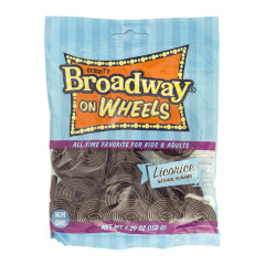 GUSTAF'S BROADWAY WHEELS LICORICE 5.29 OZ PEG BAG