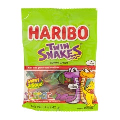 HARIBO TWIN SNAKES GUMMI CANDY 5 OZ PEG BAG