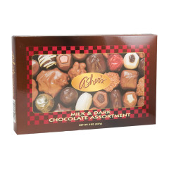 ASHER'S MILK AND DARK CHOCOLATE ASSORTMENT 8 OZ BOX