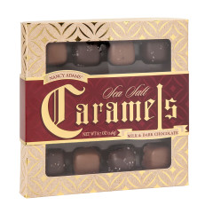 NANCY ADAMS MILK AND DARK CHOCOLATE SEA SALT CARAMELS 8.7 OZ BOX