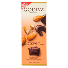GODIVA 72% DARK CHOCOLATE WITH ALMONDS 3.1 OZ TABLET BAR