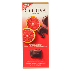 GODIVA DARK CHOCOLATE BLOOD ORANGE 3.1 OZ TABLET BAR