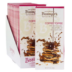 BISSINGER'S DARK CHOCOLATE COFFEE TOFFEE 3 OZ BAR